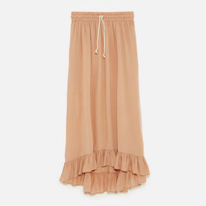 ZARA l Long Skirt with Ruffled Hem